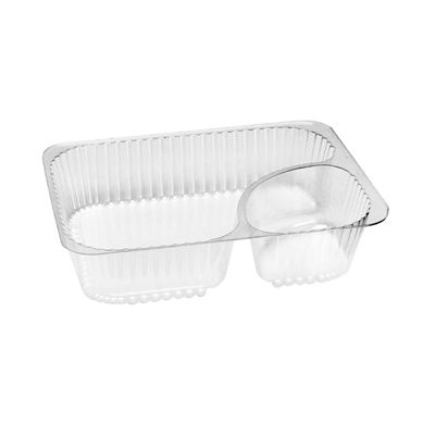 Douglas Stephen B856SP Nacho Tray with 2 Compartments, Clear Plastic - 500 / Case