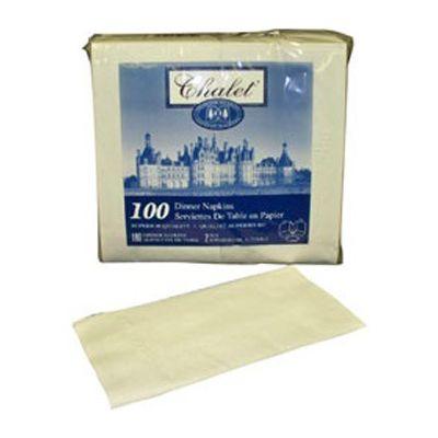 "Vintage 07130 Chalet Paper Dinner Napkin, 2 Ply, 1/8 Fold, 15"" x 16"", White - 3000 / Case"