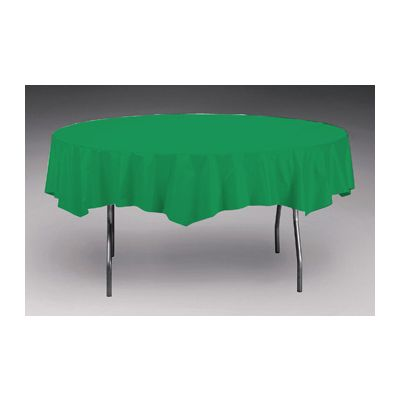 """Creative Converting 923261 Touch of Color 82"""" Round Polytissue Tablecloth, Emerald Green - 12 / Case"""