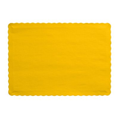 "Creative Converting 863269B Touch of Color Paper Placemats, 14.5"" x 10"", School Bus Yellow - 600 / Case"