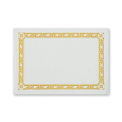 "Hoffmaster PP41000 Gold Greek Key Paper Placemats, 10"" x 14"" - 1000 / Case"
