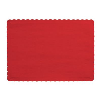 "Creative Converting 863548B Touch of Color Paper Placemats, 14.5"" x 10"", Classic Red - 600 / Case"