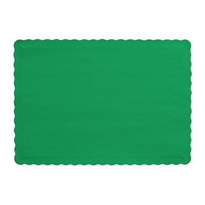 "Creative Converting 863261B Touch of Color Paper Placemats, 14.5"" x 10"", Emerald Green - 600 / Case"