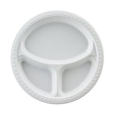 """Huhtamaki Chinet 81230 First Choice 10.25"""" Plastic Plates with 3 Compartments, White - 500 / Case"""