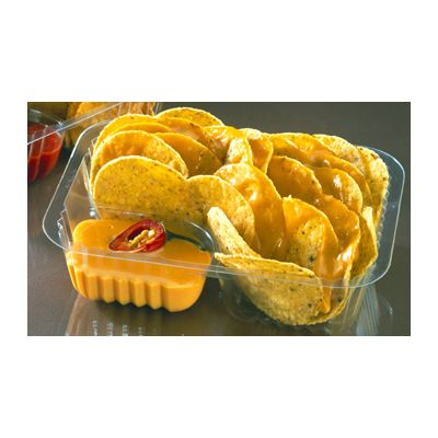 "Pactiv CI8-8062 Nacho Trays with 2 Sections, Plastic, 6.5"" x 5"" x 1.75"", Clear - 500 / Case"