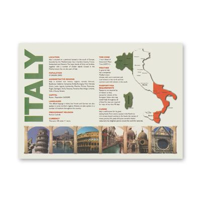 "Hoffmaster PP112 Map of Italy Paper Placemats, 10"" x 14"" - 1000 / Case"