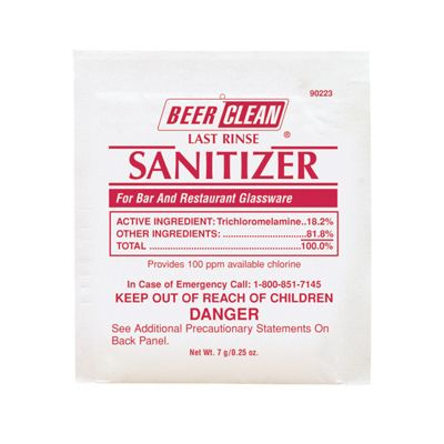 Diversey 90223 Beer Clean Last Rinse Sanitizer Powder, 0.25 oz Packs - 100 / Case