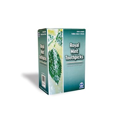 AmerCareRoyal RM115 Mint Flavored Toothpicks Wrapped in Cellophane - 15000 / Case