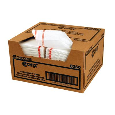 "Chicopee 8250 Reusable Food Service Towels, 13.5"" x 24"", White / Red Stripe - 150 / Case"