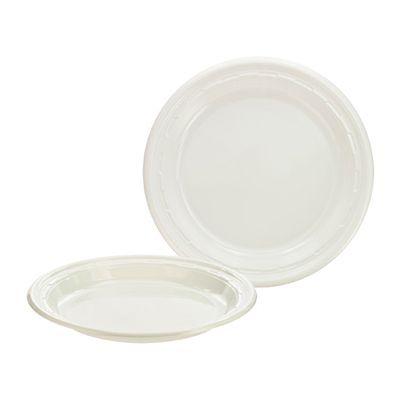 """Dart 10PWF Famous Service 10-1/4"""" Plastic Plates, White - 500 / Case"""
