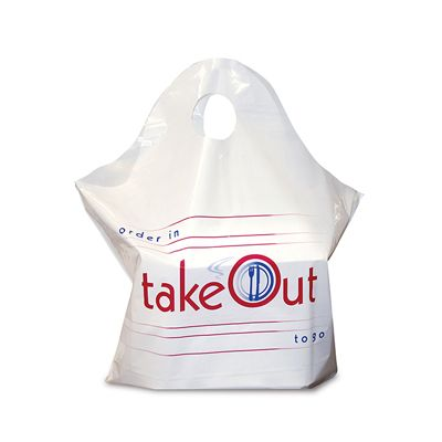 "AmerCareRoyal RPWB1919 Wave Top Plastic Takeout Bags, Fit 9"" Boxes, White - 500 / Case"