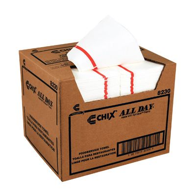 "Chicopee 8230 Chix All Day Foodservice Towels, 12"" x 21"", White with Red Logo Stripe - 200 / Case"