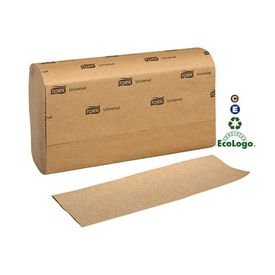 "Essity MK530A Tork Universal Multifold Paper Hand Towels, 1 Ply, 9.5"" x 9.1"", Brown - 4000 / Case"