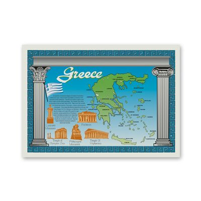 "Hoffmaster PP137 Map of Greece Paper Placemats, 10.25"" x 14.5"" - 1000 / Case"