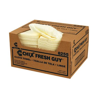 "Chicopee 8255 Chix Fresh Guy Lemon Foodservice Towels with Microban, 12.5"" x 21"", Yellow - 150 / Case"