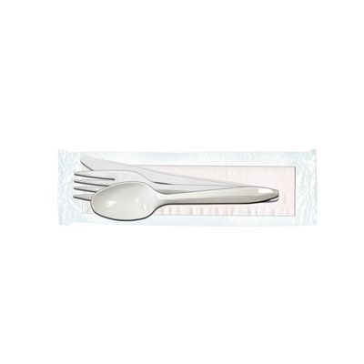 Max Packaging 68F-A1 Plastic Cutlery Kits with Fork, Knife, Spoon and Paper Napkin, White - 250 / Case