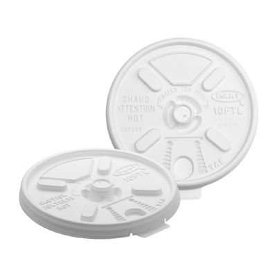 Dart 10FTL Lift N' Lock Plastic Lids for 10 oz Foam Cups, Fold Tab, White - 1000 / Case