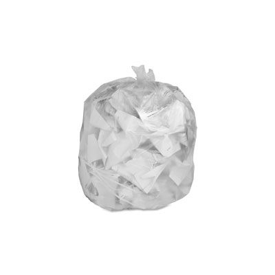 """Genuine Joe 01014 55-60 Gallon Trash Can Liners / Garbage Bags, 0.8 Mil, 38"""" x 58"""", Clear - 100 / Case"""
