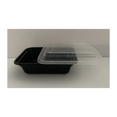 Maple Trade HDRE12 12 oz Microwave Safe Plastic Food Containers, Rectangular, Black / Clear – 150 / Case