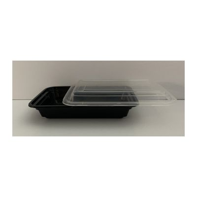 Maple Trade HDRE16 16 oz Microwave Safe Plastic Food Containers, Rectangular, Black / Clear – 150 / Case