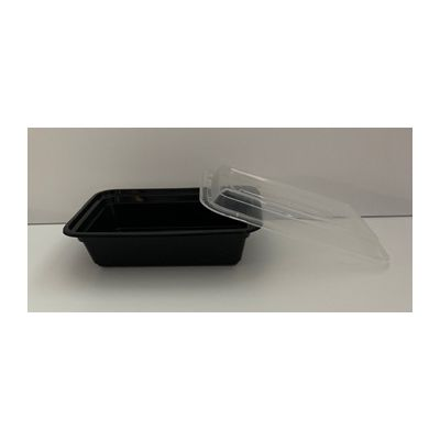 Maple Trade HDRE24 24 oz Microwave Safe Plastic Food Containers, Rectangular, Black / Clear – 150 / Case