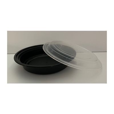 Maple Trade HDRO16 16 oz Microwave Safe Plastic Food Containers, Round, Black / Clear – 150 / Case