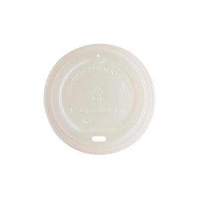 Genuine Joe 10212 Lids for 10-16 oz Compostable Paper Hot Cups, Plastic, White - 1000 / Case