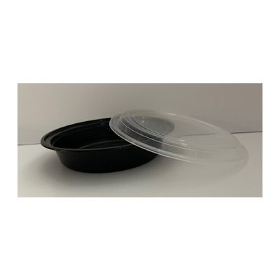 Maple Trade HDRO48 48 oz Microwave Safe Plastic Food Containers, Round, Black / Clear – 150 / Case