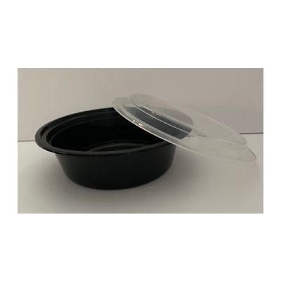 Maple Trade HDRO32 32 oz Microwave Safe Plastic Food Containers, Round, Black / Clear – 150 / Case
