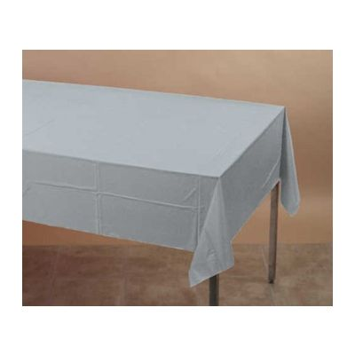 "Creative Converting 710236B Touch of Color Polytissue Tablecloth, 54"" x 108"", Shimmering Silver - 24 / Case"