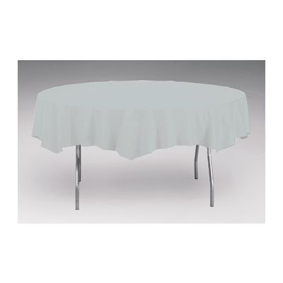 """Creative Converting 703281 Touch of Color 82"""" Round Plastic Tablecloth, Shimmering Silver - 12 / Case"""