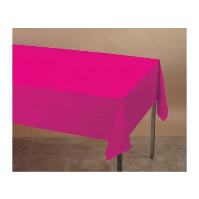 """Creative Converting 01413B Touch of Color Plastic Tablecloths, 54"""" x 108"""" Hot Magenta - 24 / Case"""