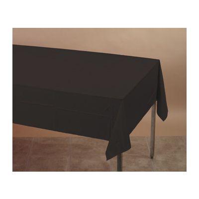 "Creative Converting 01290B Touch of Color Plastic Tablecloths, 54"" x 108"", Black Velvet - 24 / Case"