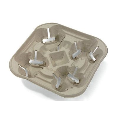 """Chinet Flurry Strongholder 4 Cup Carrier Tray, Molded Recycled Fiber, 8-1/4"""" x 8-1/4"""" x 1-5/8"""" - 300 Trays (20972)"""