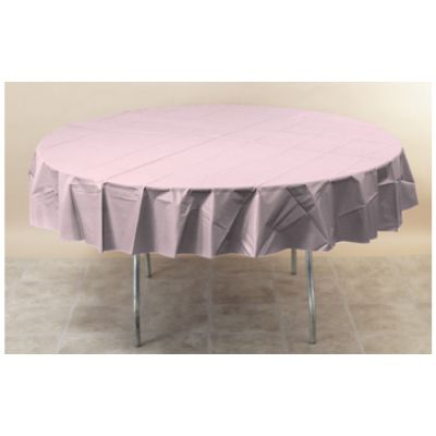 """Creative Converting 923274 Touch of Color 82"""" Round Polytissue Table Covers, Classic Pink - 12 / Case"""
