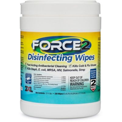 "2XL 407 Force2 Disinfecting Wipes, Medical Grade, 6"" x 6.75"" - 2640 / Case"