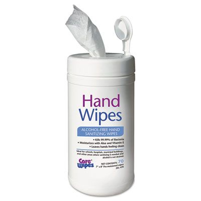 """2XL 470 Hand Sanitizing Wipes, Alcohol-Free, 70 / Canister, 7"""" x 8"""", White - 6 / Case"""