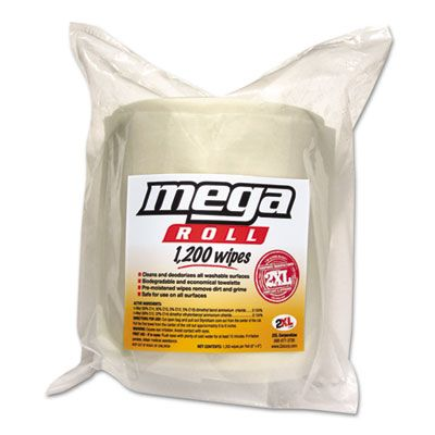 "2XL L420 GymWipes on Mega Roll, 8"" x 8"", 1200 / Roll, White - 2 / Case"