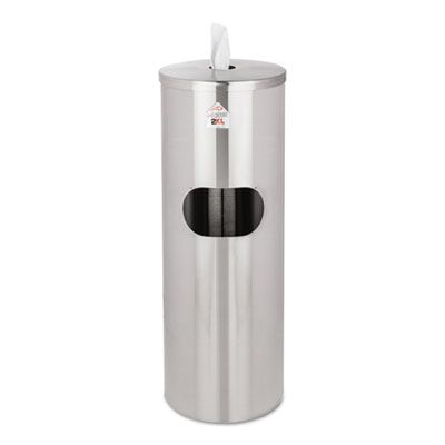 "2XL L65 Stainless Steel Wipes Dispenser & Waste Receptacle, 5 Gallon, 36"" x 12"", Silver - 1 / Case"