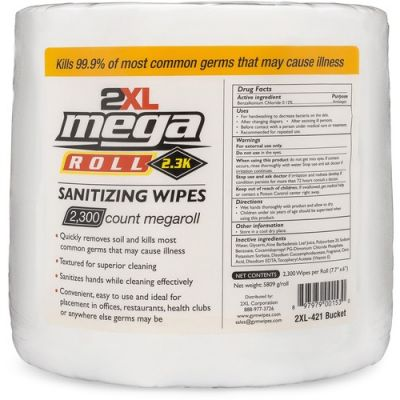 "2XL 422 Mega Roll Sanitizing Wipes, Alcohol Free, 7.7"" x 6"", 2300 / Roll - 2 / Case"
