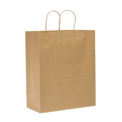 "Duro 84624 Sup-R-Mart Medium Vertical Paper Shopping Bags, 65#, 13"" x 7"" x 17"", Kraft - 250 / Case"