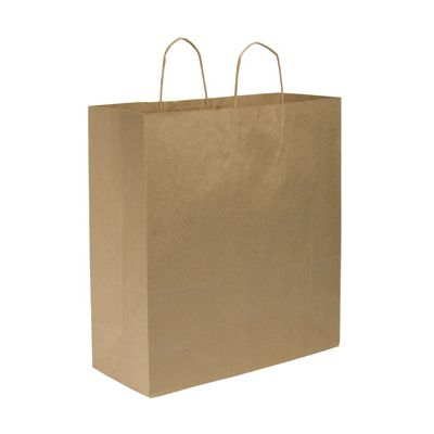 "Duro 87148 Cargo Large Paper Shopping Bags, 70#, 18"" x 7"" x 18.75"", Kraft - 200 / Case"