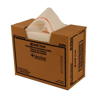 "Chicopee 8290 Chix Plus Foodservice Towels with Microban, 13"" x 24"", White with Red Stripe - 72 / Case"