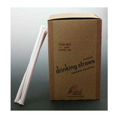 "Cardinal Straw 510745 7.75"" Plastic Giant Straws, Paper Wrapped, Red - 7200 / Case"
