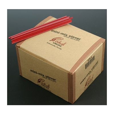 "Cardinal Straw 510045 5"" Red Coffee Stirrer Straws, Plastic, White Stripe - 10000 / Case"