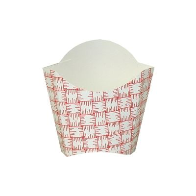 Dixie FF2 / FF2RP Paper French Fry / Fried Food Scoop, 5 oz Medium Size, Red Basketweave - 1000 / Case