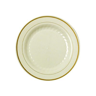 """WNA MP10IPREM Masterpiece 10.25"""" Plastic Catering Plates, Ivory with Gold Rim Design - 120 / Case"""