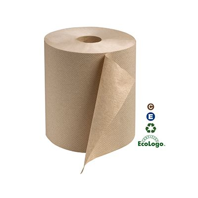 "Essity RK600E Tork Universal Hardwound Paper Hand Towel Roll, 1 Ply, 7-7/8"" x 600', Brown - 12 / Case"