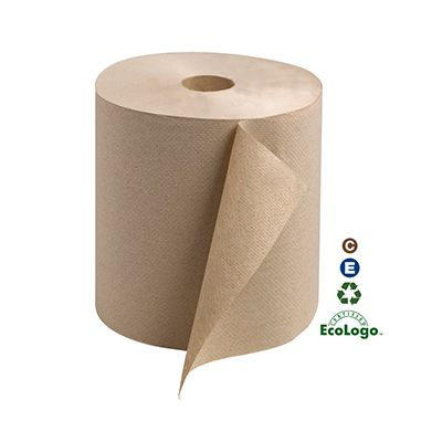 "Essity RK800E Tork Universal Hardwound Paper Hand Towel Roll, 1 Ply, 7.9"" x 800', Brown - 6 / Case"