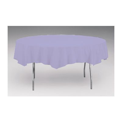 "Creative Converting 703265 82"" Round Plastic Tablecloths, Luscious Lavender - 12 / Case"